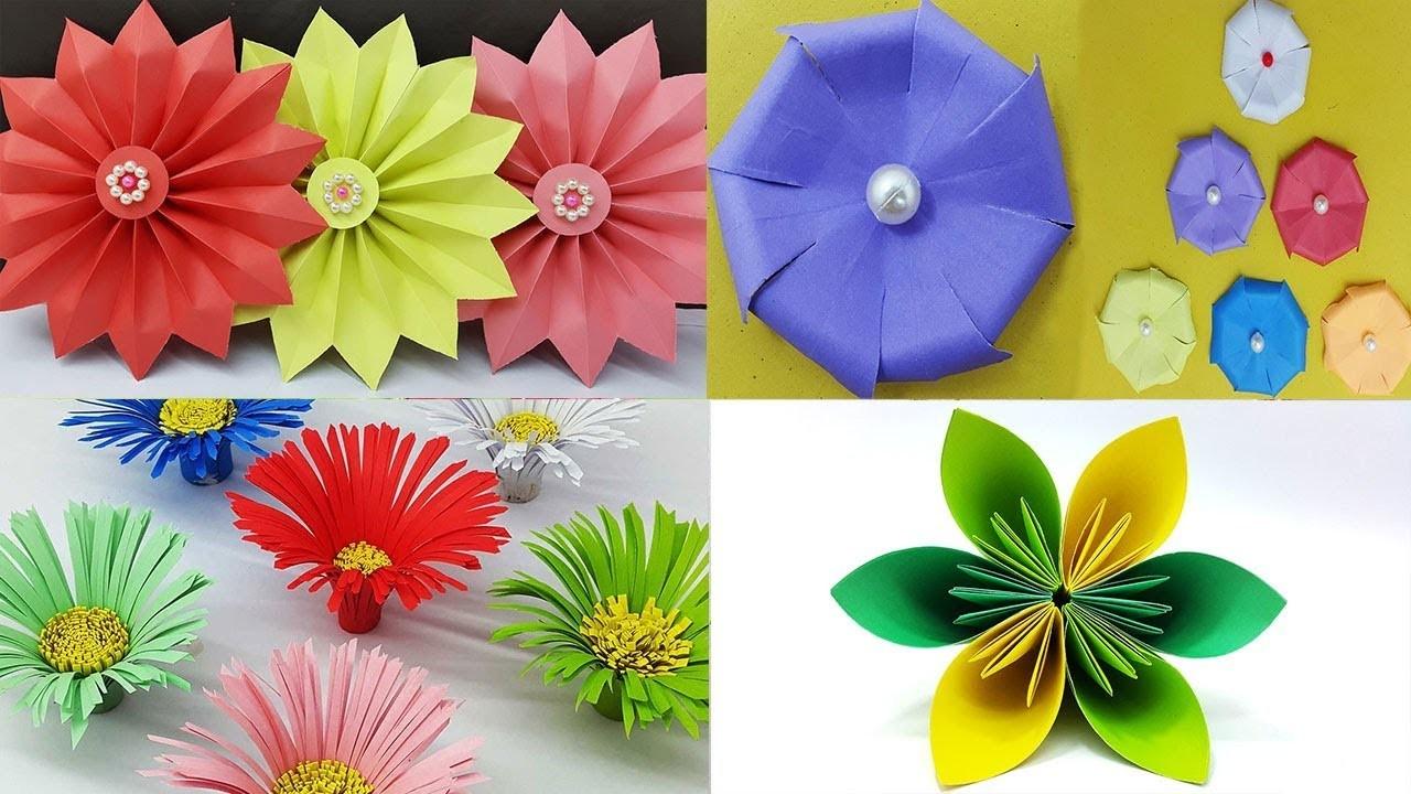 Best 4 Easy Paper Flowers Tutorial - DIY Paper Flower Design - YouTube