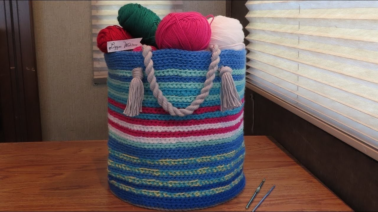Crochet a Round Basket with Yarn Rope Handle Part 1