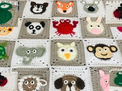 Crochet Animal blanket. Crochet frog.crochet ladybird.ladybug.Part:3