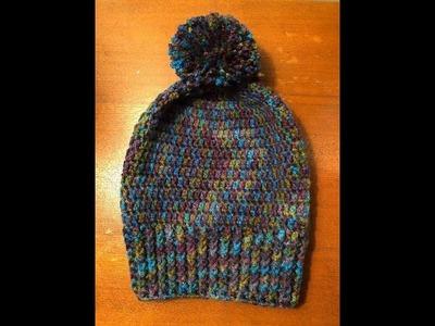 Crochet Slouchy Peacock Beanie