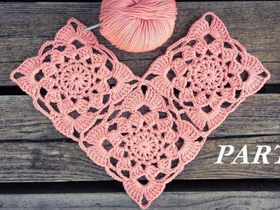 Crochet Sunset Flower Square Motif Tutorial Part 2 of 2 How to Join The Squares