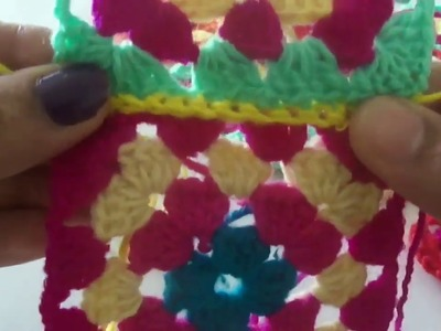CROCHET TUTORIAL = HOW TO JOIN GRANNY SQUARE CROCHET | beginners | woolen