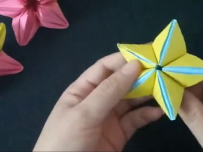 DIY 3D Paper Star Flower Origami Flowers with Kids for fun Easy and Simple Step by Step Tutorial