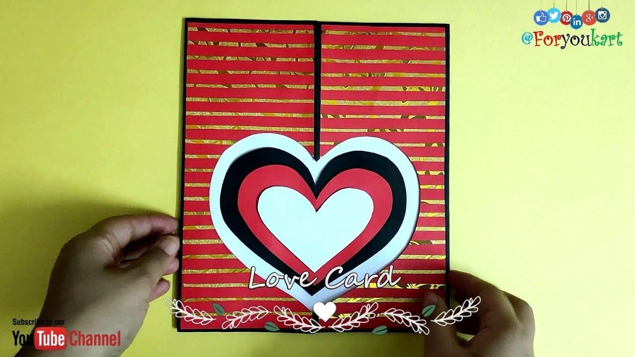 DIY - How to Make a Heart Card   Handmade Simple Love Card Making Ideas   I Love You Card Ideas