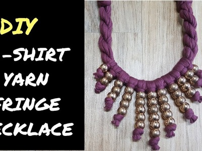 DIY: How To Make Fringe Necklace (t shirt yarn) With Beads | #fabricnecklace #fringenecklace #diy