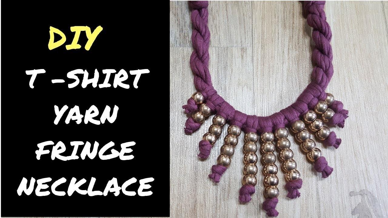 DIY: How To Make Fringe Necklace (t shirt yarn) With Beads | #fabricnecklace #fringenecklace #diy