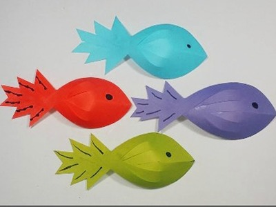 DIY : How to make Paper Fish For Kids || Kids Crafts Idea. . Very Easy Tutorial.
