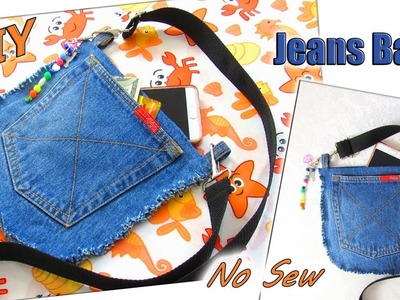 DIY Jeans Bag Purse Out Of Old Jeans In 5 Minutes - How To No Sew Denim Bag - Old Jeans Crafts