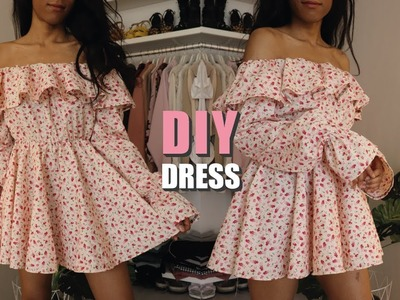 DIY OFF THE SHOULDER DRESS. How To Make A Dress With Sewing Pattern