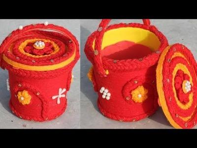 DIY Unique Woolen Art On Basket | Amazing Home Ideas