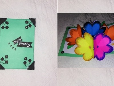 Handmade Birthday Pop up card with flowers inside | DIY pop up 3D card|
