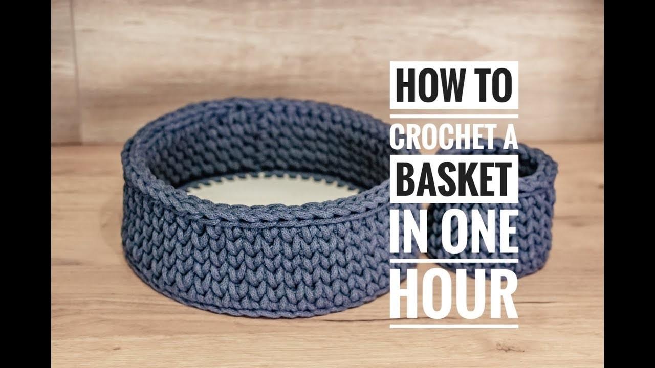 How to Crochet a Wooden Based Basket - Crochet Basket Tutorial