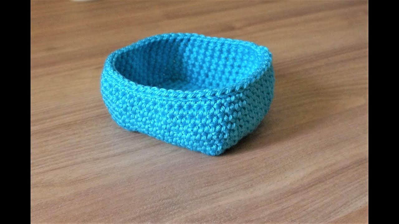 How to crochet an easy square basket   |||    Left hand