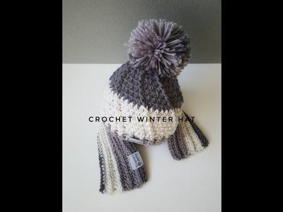 How to crochet hat. Crochet baby winter hat