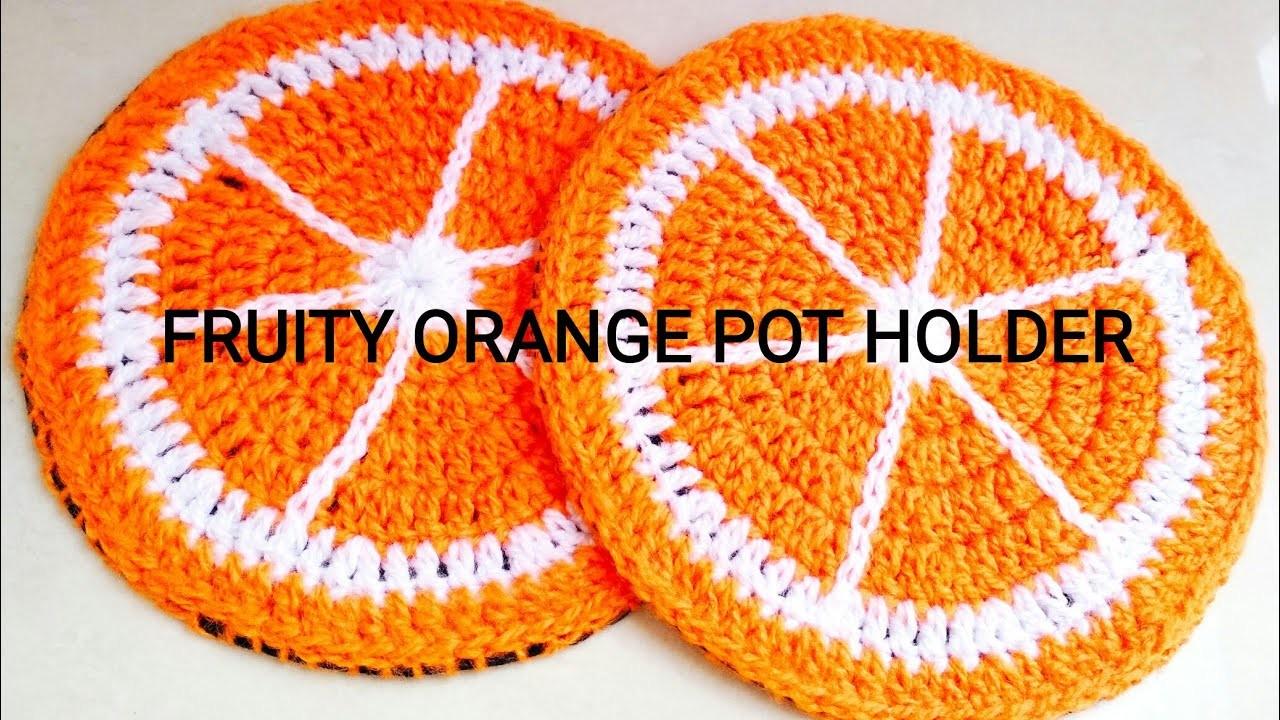 How to crochet Orange Coaster - Crochet Fruity Pot Holder 1 (lovely result with felt)