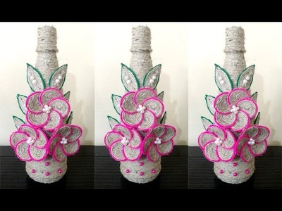 How to decorate Empty Plastic Bottle With Jute Rope | DIY Flower Vase Showpiece with Jute |Tip Tap