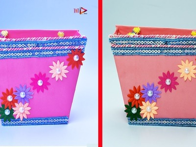 How to Make a Simple and Beautiful Paper Basket | DIY Paper Basket With Handle Tutorial