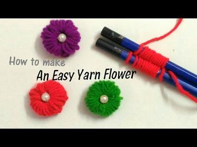 How to make an easy yarn flower   Yarn Flower making