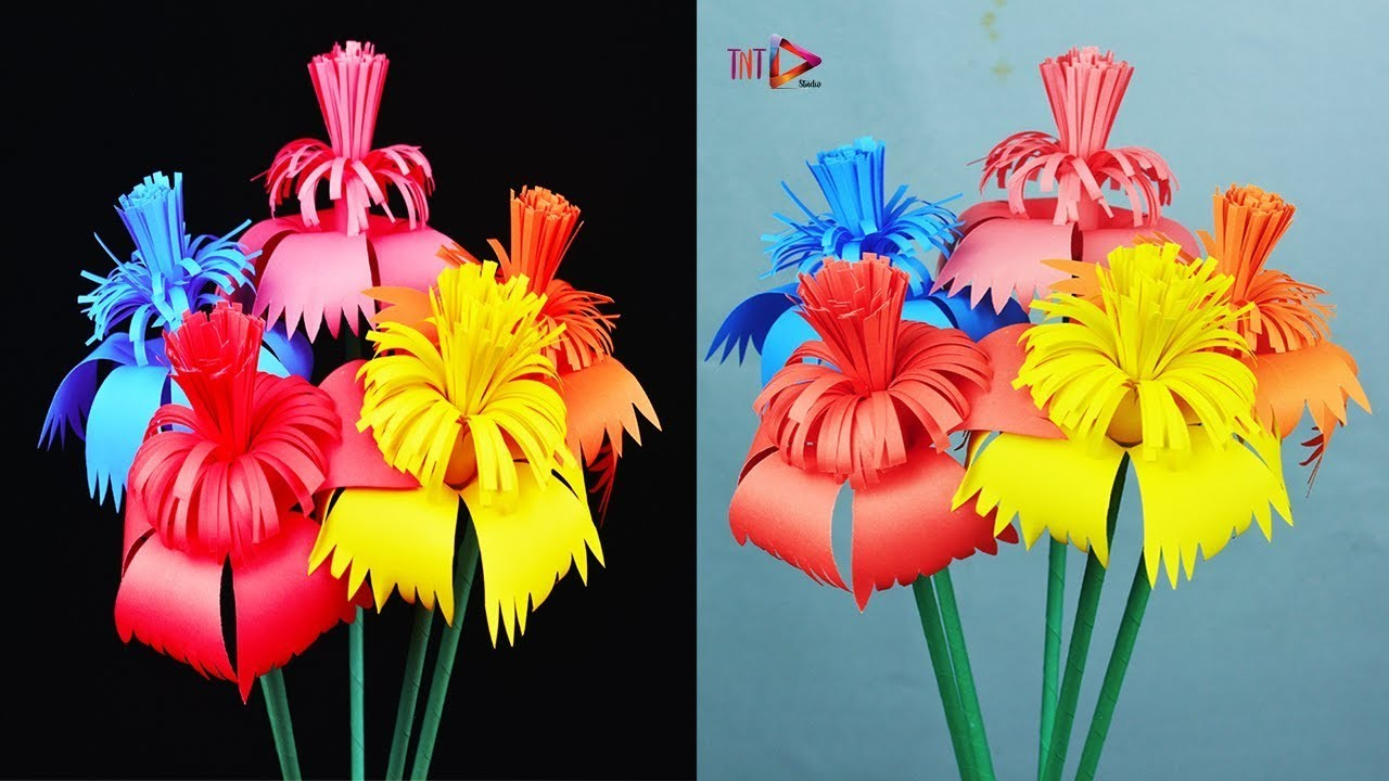How To Make Awesome Paper Stick flower   DIY Handy Paper Crafts Flower Easy for Room
