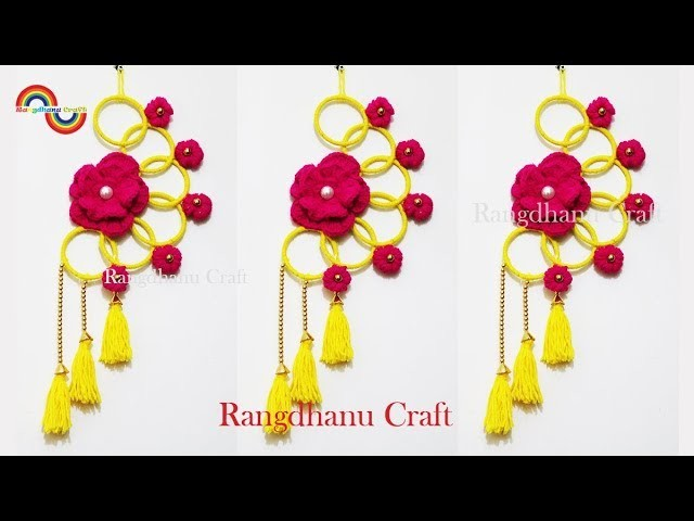 How to make door hanging with bangles || Best Reuse Ideas of Bangle and Wool || Woolen Craft ideas