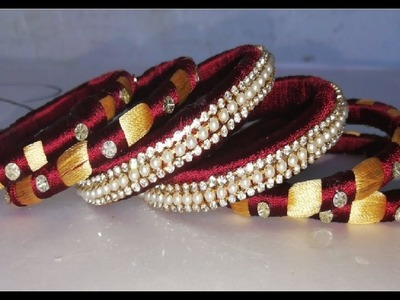 How to make double colour silk thread bangles.deisgner silk thread bangle