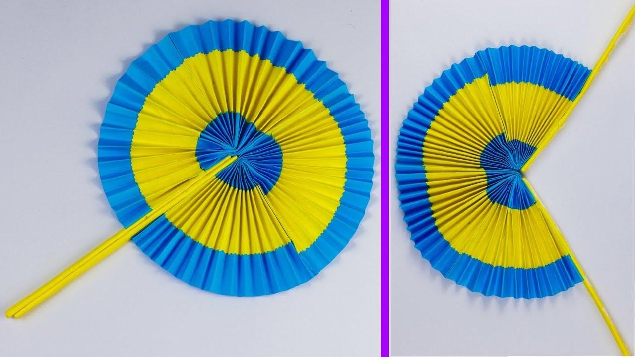 How to make  Paper Folding  fan | DIY Paper POCKET FAN | folding paper fan tutorial