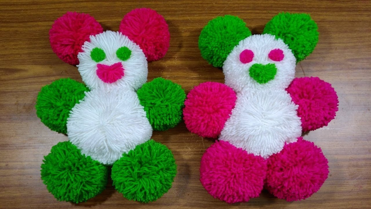 How To Make Pom Pom Teddy Bear With Wool DIY Woolen Teddy Bear Making at Home Woolen Crsft Idea