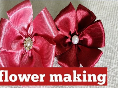 Learn how to make beautiful satin ribbon flower.Hand embroidery ribbon work, ribbon flowers.