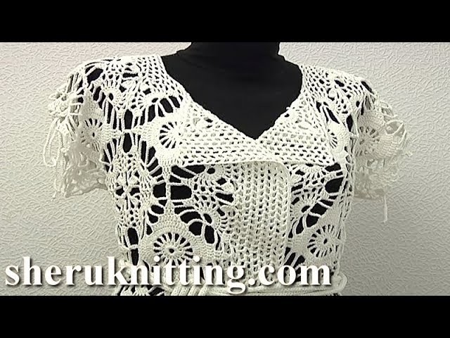 Long Crochet Cardigan of Big Motives Tutorial 18 Part 1 of 3
