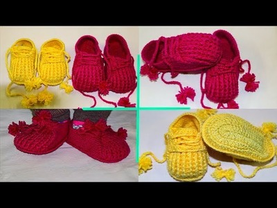 Re-uploded - Crochet baby booties - step by step DIY - #crochet #create happy life