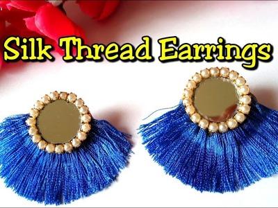 Silk thread earrings making tutorial at home   DIY tassel earrings