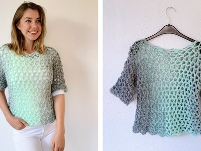 SIMPLE CROCHET T-SHIRT MADE WITH SCARFIE YARN