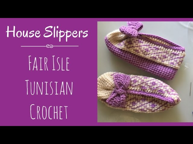 Tunisian Crochet Slipers, two colors