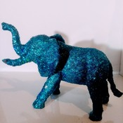 Blue Glitter Elephant