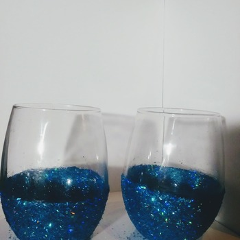Glitter Glass Pen Holder