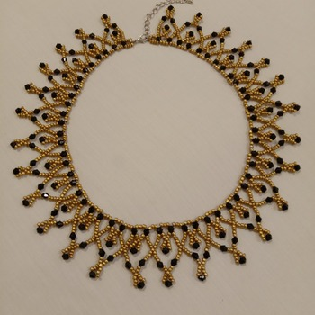 Handmade Golden Black Beads Necklace