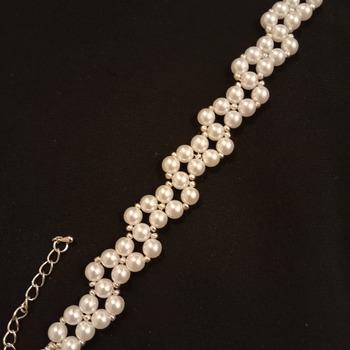 Handmade White Pearl  Zig Zap Bracelet