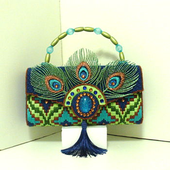 Jeweled Royal Blue & Green Peacock Purse