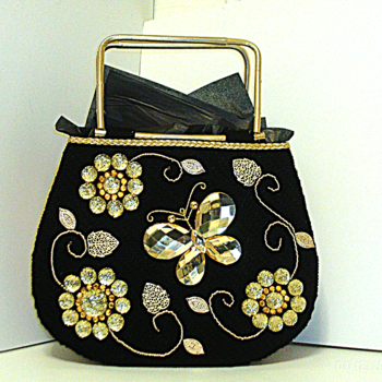 Large Black & Gold Jeweled Tote bag
