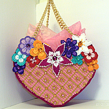 Large Floral & Pink Jeweled Heart shaped Tote bag