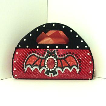 Red,Black & Sliver Jeweled Bat Purse