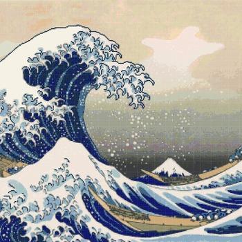 Counted Cross Stitch Kanagawa Hokusai great wave 386 x 266 stitches CH1109