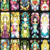 counted cross stitch pattern 15 princesses stained glass 303*493 stitches CH748