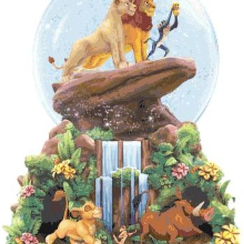 counted cross stitch pattern lion king glitter globe 216x285 stitches CH2179
