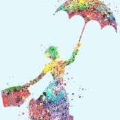 counted Cross stitch pattern mary poppins watercolor 172 * 229 stitches CH2116