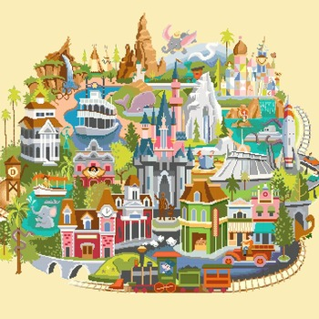 counted cross stitch pattern Disneyland map needlepoint 354x312 stitches CH1250