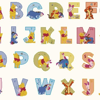 Counted cross stitch pattern alphabet high 50 winnie characters 376 * 274 stitches CH545