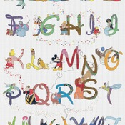 counted cross stitch pattern alphabet disney characters 324*423 stitches CH531