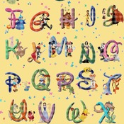 Counted Cross stitch pattern Alphabet Disney characters 425x607 stitches CH1266