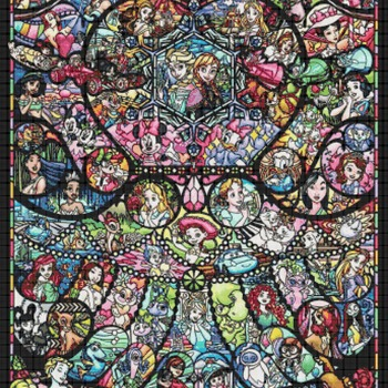 counted cross stitch pattern disney stained glass Pdf 344*496 stitches CH1659